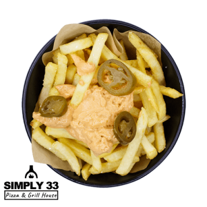 Simply 33 - French fries with cheddar cheese dip & jalapeños