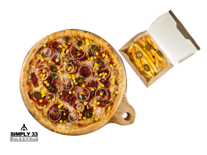 Combo Menu (Texas Pizza, French Fries With Cheddar Cheese Dip & Jalapenos)