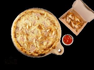 Combo Menu (Hawai Pizza, American Wedges With Parmesan, Ketchup)