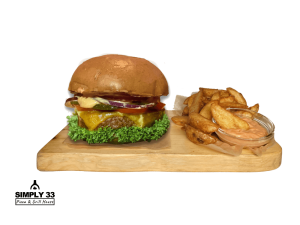 Simply Vegetarian Burger + American Wedges & dip