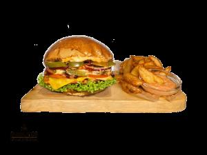 Spicy Chicken Burger + American Wedges & Dip
