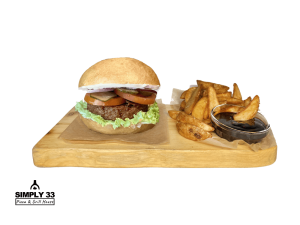 Simply Vegan Burger + American Wedges & BBQ Dip
