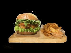 Green Vegan burger + American Wedges & Dip