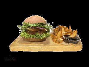 Green Vegan burger + American Wedges & BBQ Dip